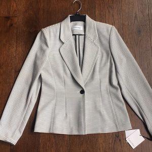 Calvin Klein Blazer Black White Striped Size 10